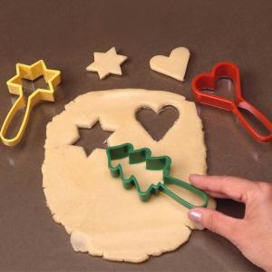 クッキー型 クッキーカッター ハンドルクッキー抜型 星ツリーハート 3個セット プラスチック製 ( 抜き型 製菓グッズ 抜型 )|livingut