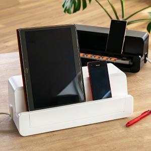 テーブルタップステーション 充電スタンド スマホ・タブレット・モバイル用 ( 充電ステーション コード収納 充電器 収納ケース )|livingut