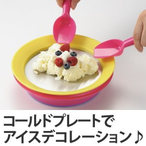 皿 マジックコールドプレート スプーン付き 専用保冷剤付き ( お菓子作り アイスクリーム作り コールドプレート )|livingut