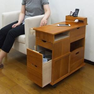 収納ワゴン ソファサイドワゴン 桐製 幅33cm ( サイドテーブル テーブルワゴン 収納用品 木製 )|livingut