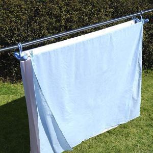 洗濯ハンガー シーツゆったりのびのびハンガー3枚掛け ブルー ( 物干しハンガー シーツ干し ステンレスハンガー )|livingut