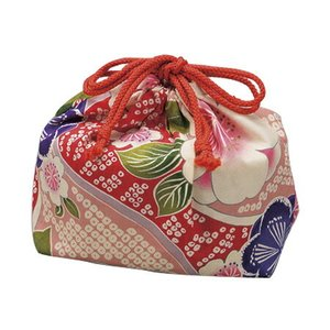 巾着袋 HAKOYA 桜ピンク 和風柄 ( お弁当袋 ランチ巾着 )