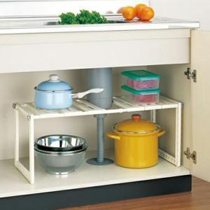 収納棚 シンク下フリーラック 1段 SR1-EX 組立式 ( 伸縮 整理棚 キッチン収納 キッチン 収納 )|livingut