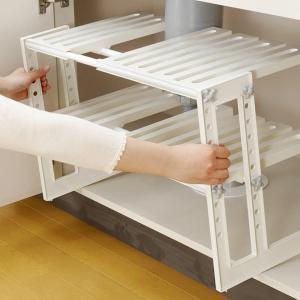 収納棚 シンク下フリーラック 2段 伸縮タイプ 組立式 ( 整理棚 収納ラック キッチンラック シンク下 )|livingut