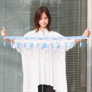 洗濯ハンガー フリーピンチャー29 ピンチ29個付 伸縮ハンガー ブルー ( 角ハンガー ピンチハンガー 伸縮 スリム )|livingut