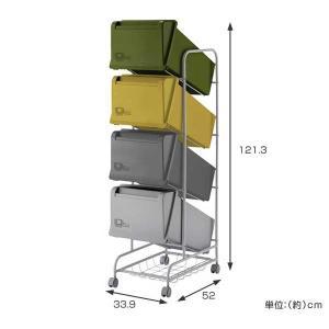 分別ゴミ箱 コンテナスタイル スチールワゴン 84L 縦型 キャスター付 ( ダストボックス ごみ箱 )|livingut|04