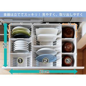 キッチン収納ケース ディッシュスタンド S システムキッチン 引き出し用 トトノ ( 皿立て ディッシュラック 食器収納 )|livingut|05