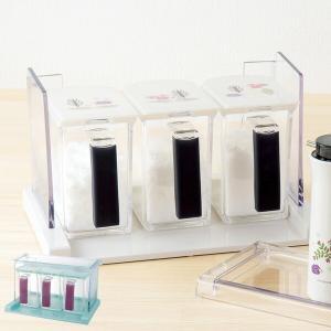 調味料ラック リッチェル Kinpro キンプロ クッキングポット 3個組 FO 計量スプーン付き 調味料容器 ( 調味料ケース 調味料ポット スパイスラック )|livingut