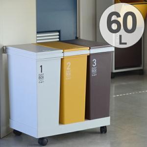 分別ゴミ箱 資源ゴミ 横型 3分別ワゴン カラー 60L