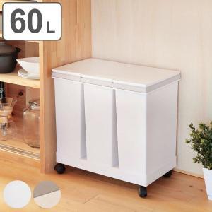 ゴミ箱 分別資源ゴミ箱 横型3分別ワゴン ( ごみ箱 ダストボックス 防臭 スリム キッチン 台所 )の写真
