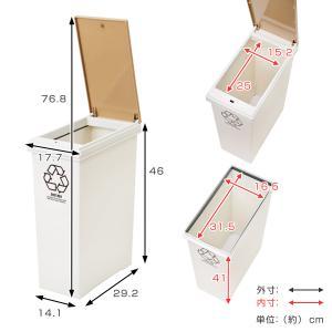 ゴミ箱 分別資源ゴミ箱 横型3分別ワゴン ( ごみ箱 ダストボックス 防臭 スリム キッチン 台所 ) livingut 05
