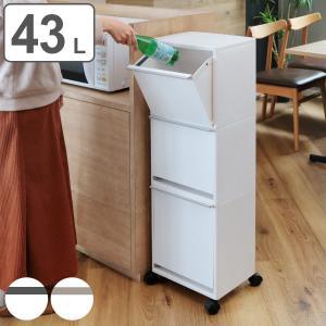 ゴミ箱 資源ゴミ分別ワゴン(ワイド)3段 ( ごみ箱 ダストボックス 防臭 スリム キッチン 台所 )|livingut