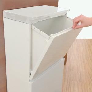 ゴミ箱 分別 2段 薄型 ワイド 40L 縦型 分別ゴミ箱 ベーシックカラー ( キッチン 分別 ごみ箱 ふた付き スリム ペダル )|livingut|13