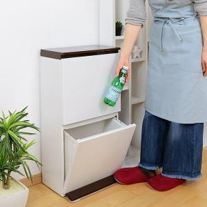 ゴミ箱 分別 2段 薄型 ワイド 40L 縦型 分別ゴミ箱 ベーシックカラー ( キッチン 分別 ごみ箱 ふた付き スリム ペダル )|livingut|06