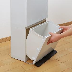 ゴミ箱 分別 2段 薄型 ワイド 40L 縦型 分別ゴミ箱 ベーシックカラー ( キッチン 分別 ごみ箱 ふた付き スリム ペダル )|livingut|10