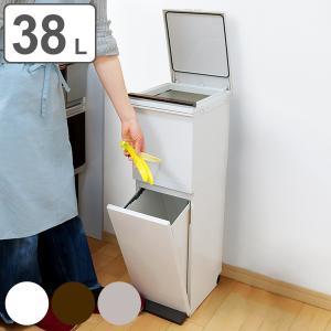 ゴミ箱 分別 縦型 2段 スリム パッキン付き ふた付き 38L ベーシックカラー ( ごみ箱 ペダル ダストボックス 防臭 スリム キッチン 台所 )の画像