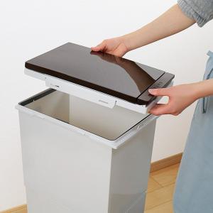 ゴミ箱 分別 2段 スリム パッキン付き 防臭 38L 縦型 分別ゴミ箱 ベーシックカラー ( キッチン 分別 ごみ箱 ふた付き プッシュ ペダル )|livingut|11