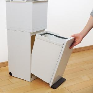 ゴミ箱 分別 2段 スリム パッキン付き 防臭 38L 縦型 分別ゴミ箱 ベーシックカラー ( キッチン 分別 ごみ箱 ふた付き プッシュ ペダル )|livingut|16