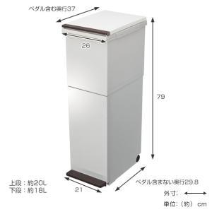 ゴミ箱 分別 2段 スリム パッキン付き 防臭 38L 縦型 分別ゴミ箱 ベーシックカラー ( キッチン 分別 ごみ箱 ふた付き プッシュ ペダル )|livingut|04