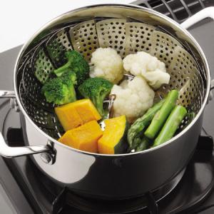 蒸し器 スチーマー フリーサイズ ステンレス製 16〜24cm ( 万能蒸し器 キッチンツール )