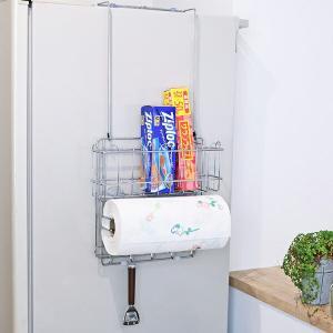 キッチンストレージ 冷蔵庫サイド収納ラック キッチン収納 ( 冷蔵庫横 キッチンラック ラップホルダー キッチンペーパーホルダー )の写真