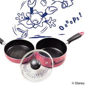 片手鍋&フライパンセット 18cm ディズニー ミニーマウス コミック フッ素加工 IH対応 ( ふっ素加工 ガラス蓋付き )