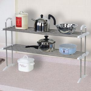 キッチンラック 伸縮ステンレス整理棚 シンク上収納 ( キッチン収納 キッチン 収納棚 )|livingut