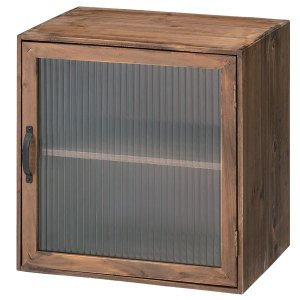 キューブボックス システムボックス 2段 ガラス扉付 Toreno 天然木 幅40cm ( 収納ボックス 収納ケース ボックス BOX 扉付き 木製 収納 )|livingut
