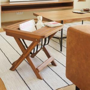 マガジンラック 折りたたみ式 天然木 アカシア材 バレル 幅45cm ( 本棚 書棚 サイドテーブル ラック テーブル ミニラック 折り畳み )|livingut