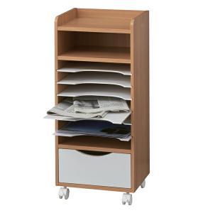 ファイルラック 書類ケース A4 キャスター付 ココナ 幅33.5cm ( 整理棚 引出し レターケース スリム 書類 収納 整頓 ファイル )|livingut