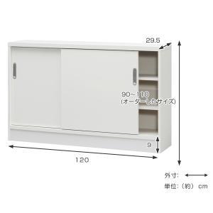 オーダー窓下収納棚 引き戸タイプ ポリエステル表面加工 高さ90〜110cm 幅120cm ( 収納ラック 扉付き )|livingut|05