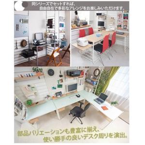 システムデスク 突っ張りパーテーション型 幅60cm マガジンタイプ 板天板 ( 机 テーブル )|livingut|06