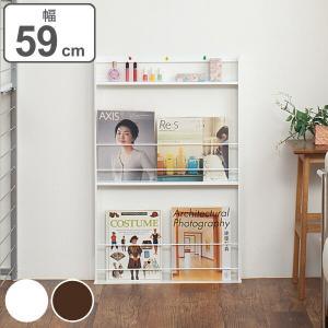 壁面ミニマガジンラック 超薄型 幅59cm ( 本棚 書棚 )の写真