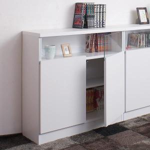 カウンター下収納 リビングキャビネット サイドボード 2枚扉 幅80cm ホワイト ( リビング収納 キッチン収納 収納棚 )|livingut