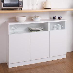 カウンター下収納 リビングキャビネット サイドボード 3枚扉 幅120cm ホワイト ( リビング収納 キッチン収納 収納棚 )|livingut
