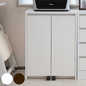 カウンター下収納 キャビネット デスクタイプ キャスター扉 幅60cm ホワイト ( キッチン収納 リビング 窓下 パソコンデスク )|livingut