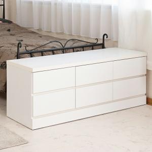 ベンチチェスト 2段 ローチェスト シンプル ホワイト 幅119.5cm ( チェスト タンス 完成品 ) livingut