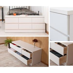 ベンチチェスト 2段 ローチェスト シンプル ホワイト 幅119.5cm ( チェスト タンス 完成品 ) livingut 06