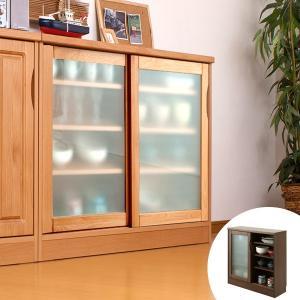 カウンター下収納 ガラス引戸 天然木 アルダー 木製 幅90cm ( 収納棚 窓下 キッチン サイドボード キッチンカウンター カウンター下 )|livingut