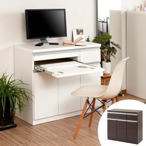 キャビネット パソコンデスク 収納棚 スタイシッリュ 約幅90cm ( PCデスク PC収納 パソコン収納 ラック 棚 リビング収納 シンプル 木製 )|livingut
