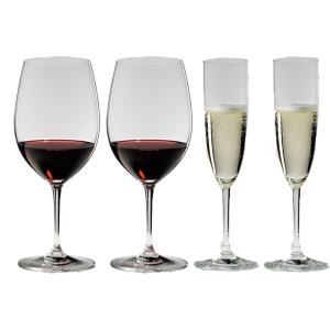 送料無料 リーデル RIEDEL ヴィノム スターターセット ワイングラス ボルドー、シャンパン 各2本の4本セット 416/0,416/8|livingwell-de