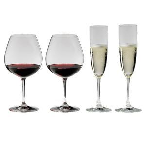 送料無料 リーデル RIEDEL ヴィノム スターターセット ワイングラス ブルゴーニュ、シャンパン 各2本の4本セット 416/7,416/8|livingwell-de