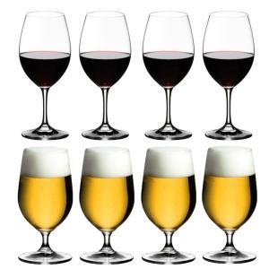 送料無料 リーデル RIEDEL オヴァチュア 赤ワイン+ビアグラス 各4本の8本セット ビール ビアー|livingwell-de