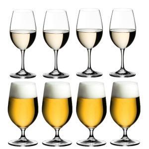 送料無料 リーデル RIEDEL オヴァチュア 白ワイン+ビアグラス 各4本の8本セット ビール ビアー|livingwell-de