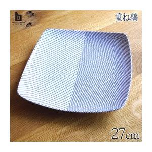 白山陶器 重ね縞 反角盛皿 27x27cm HAKUSAN/はくさん/和陶器/洋食器/有田焼/波佐見焼/HASAMI|livingwell-de