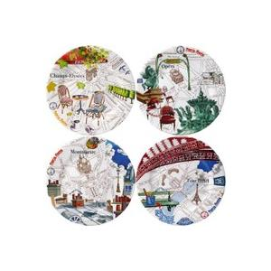 送料無料  ジアン (Gien) Paris.Paris(パリ・パリ) デザートプレート 4枚セット 22cm 結婚祝い 敬老の日|livingwell-de