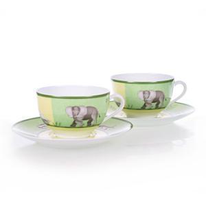 エルメス HERMES  アフリカ ペア ティー カップ&ソーサー Tea C/S (Cup and Saucer) 3216 結婚祝い 敬老の日 livingwell-de