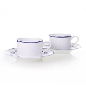 エルメス HERMES  シェーヌ・ダンクル・ブルー ペア ティー カップ&ソーサー Tea C/S (Cup and Saucer) 2716 結婚祝い 敬老の日|livingwell-de