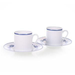 エルメス HERMES  シェーヌ・ダンクル・ブルー ペア コーヒー カップ&ソーサー Coffee C/S (Cup and Saucer) 2717|livingwell-de
