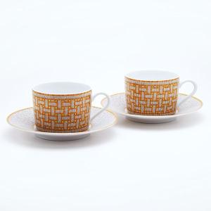 エルメス HERMES モザイクペア  ティー カップ&ソーサー Tea C/S (Cup and Saucer) 26016 結婚祝い 敬老の日|livingwell-de